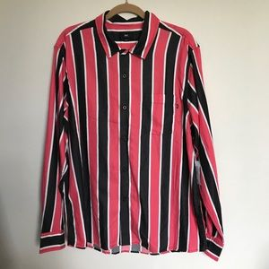 Obey Wicker Woven Long Sleeve Button Up Shirt Lrg